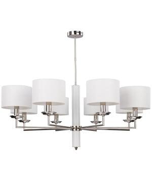 modern brass chandelier 8 arms modesto nickel finish white shades