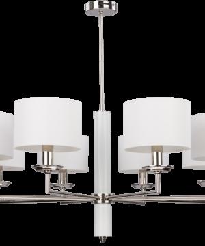 Modesto Modern Brass Nickel Chandelier 8 Arms White Fabric Lamp Shade