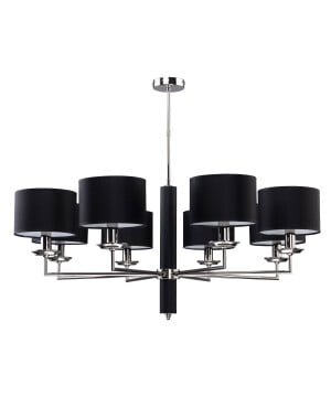 Modesto Modern Brass Nickel Chandelier 8 Arms Black Fabric Lamp Shade