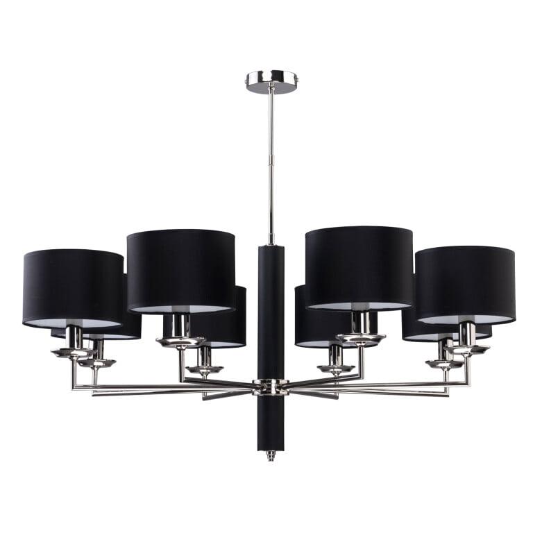Modesto Modern Brass Nickel Chandelier 8 Arms Black Fabric Lamp Shade