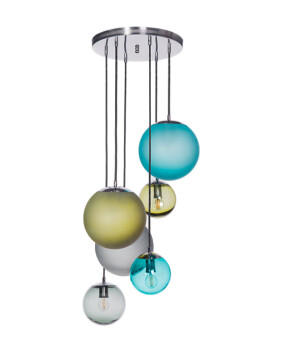 Pendant Light Semi Flush Ceiling 6 Lights BACAN MAT Glass Lamp Shade