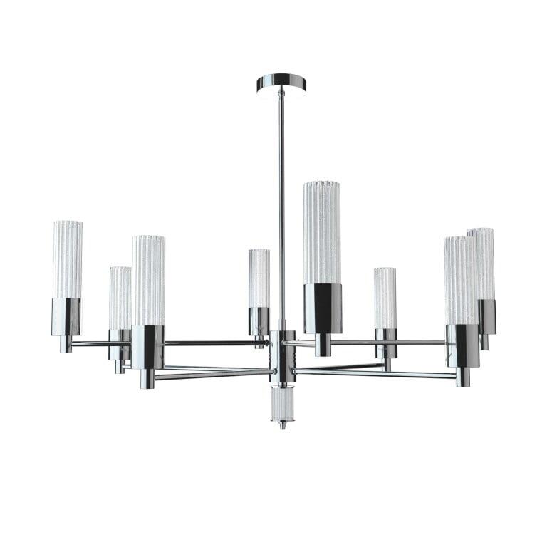 Contemporary Nickel Brass Luxury Chandelier SETI 8 Arms Glass Lamp Shade