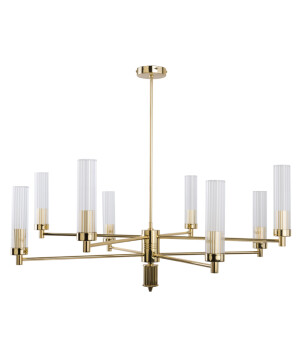 Contemporary Gold Brass Luxury Chandelier SETI 8 Arms Glass Lamp Shade