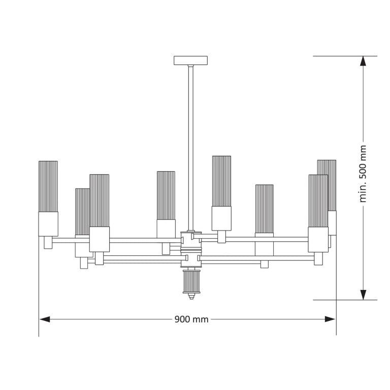 Contemporary Nickel Brass Luxury Chandelier SETI 8 Arms Glass Lamp Shade draw
