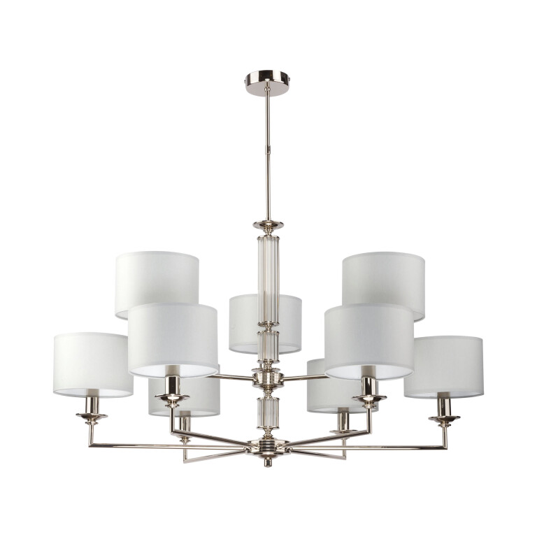 ArtuWhite Brass Chandelier 9 Arms Glass Ceiling Pendant Lights