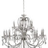 Aurora Traditional Luxury Chandelier with Crystals 15 Lights Classic Chrome
