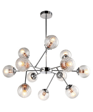 The Best Designer Pendant 12 Light Chrome Glass Lamp Shades