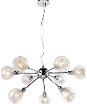 Dixi Contemporary Chrome Pendant Light Glass Lamp Shades 9 Lights Steel Cord
