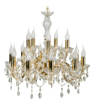 Luxury Crystals Chandelier Maria Theresa 15 Lights Gold Classic Chandelier with Crystals zoom