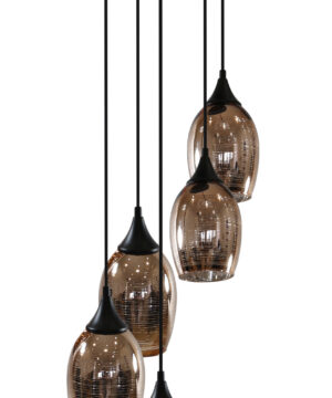 Modern Vibrant Copper Pendant 5 Lights Semi Flush Ceiling Plate Fitting MARINA 3 Glass Lamp Shades