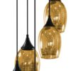 Modern Vibrant GOLD Pendant With Chrome Semi Flush Ceiling Plate Fitting MARINA