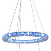 LORDS Modern Crystal Circular Double Pendant Light 40 27W LED Lamps RGB Chrome with Remote Control blue