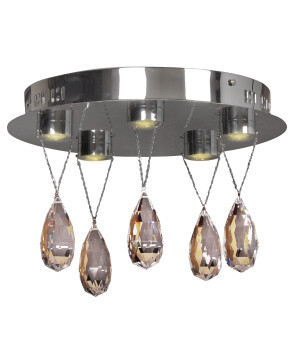 PRISMA Luxury Crystal Ceiling Flush Light 5X3W LED Lamps Chrome