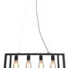4 Lights Retro Industrial Style Pendant Light with Metal Framed Glass Box Spartan