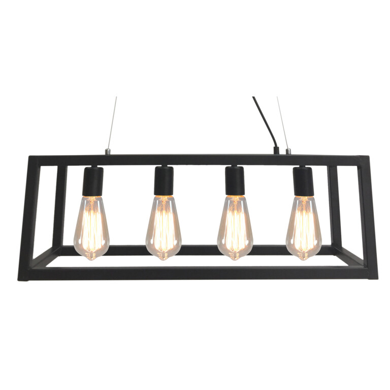 4 Lights Retro Industrial Style Pendant Light with Metal Framed Glass Box Spartan zoom