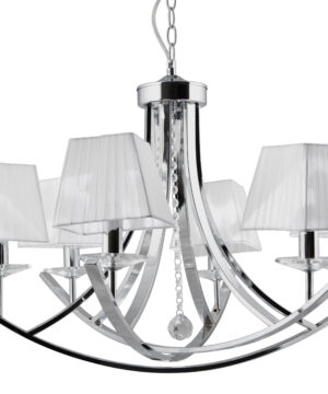 Designer Luxury Chandelier 6 Lights VALENCIA Fabric Lamp Shades with Crystals Chrome
