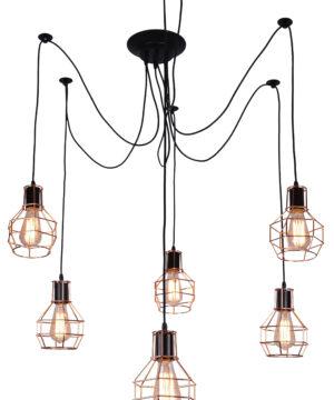 Spider Web 6 Lights Pendant Lighting Copper Lamp Shades VERIN
