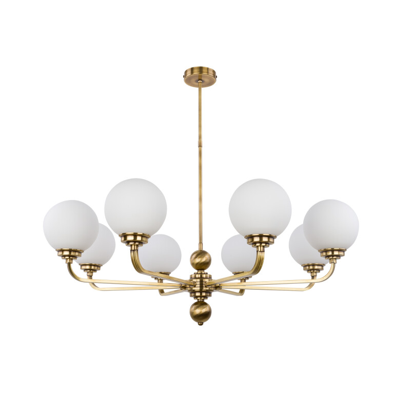 Lighting room ABANO 8 light modern chandelier in brushed brass glass shades