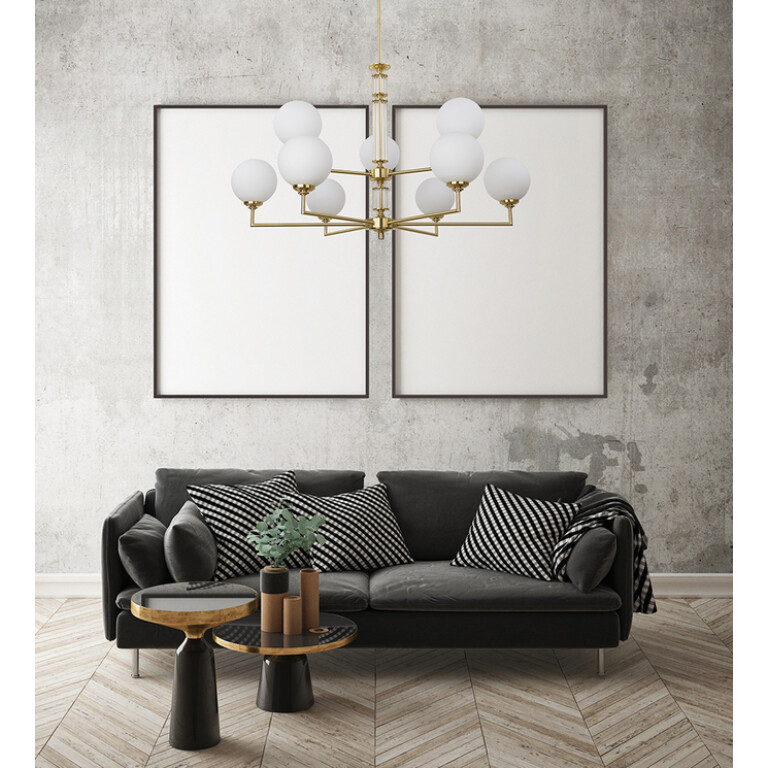 Modern large luxury chandeliers 12 Arms ARTU with Glass Shades Designer Lamp Brass Lighting