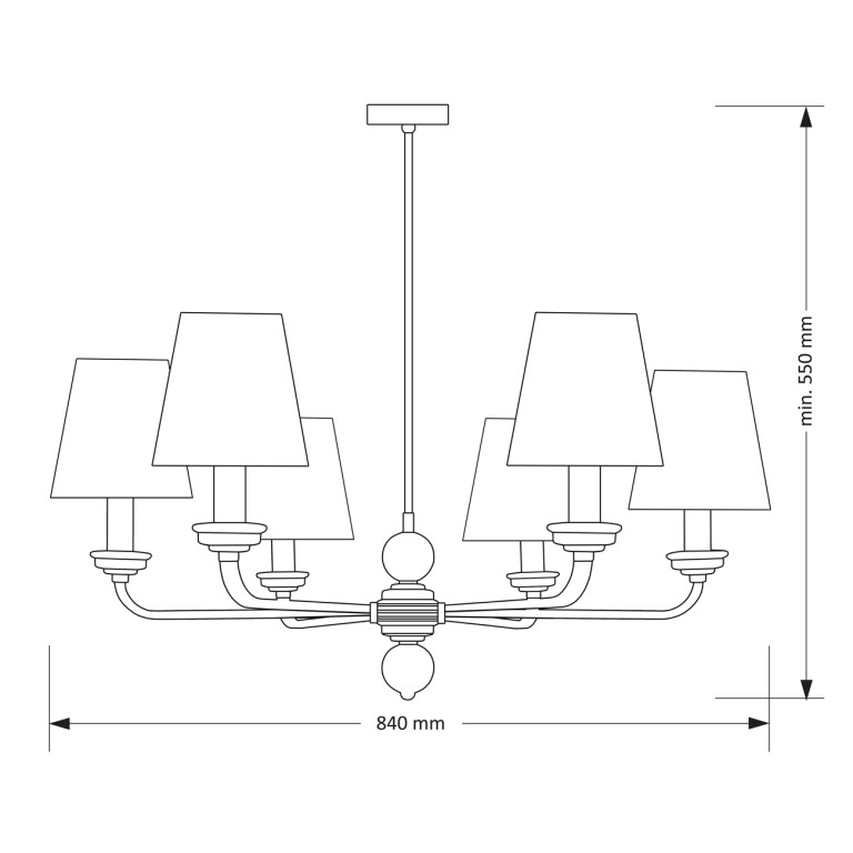 ABANO 6 Luxury Brass Chandeliers 6 Armed Fabric Lamp Shades Classic Style draw