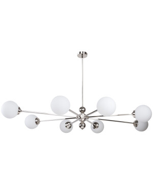 Lighting room ABANO sputnik chandelier 8 lights in nickel with glass shades