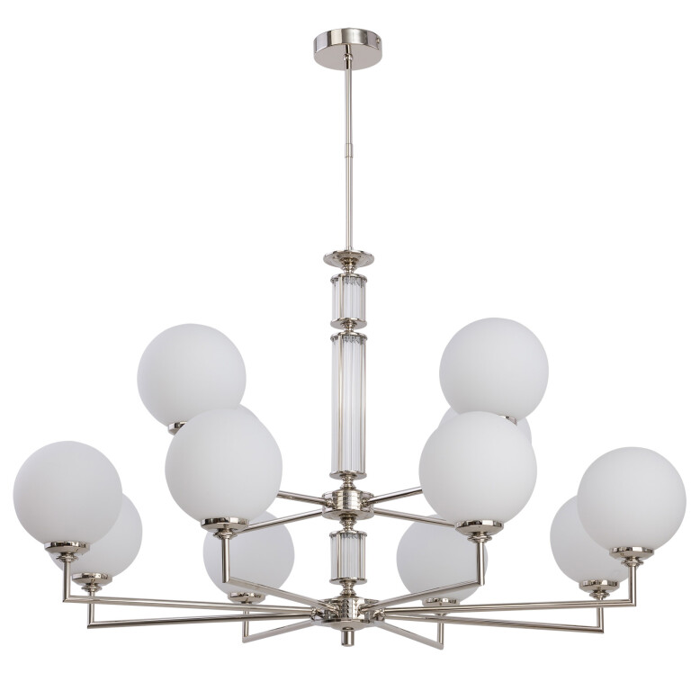 Lighting room ARTU 12 light two tier chandelier with glass shades in nickel