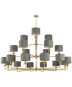 Artu Brass Chandelier 21 Arms Luxury Lights Fabric Lamp Shades Triple Tier