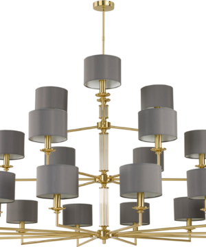 Artu Brass Chandelier 21 Arms Luxury Lights Fabric Lamp Shades Triple Tier