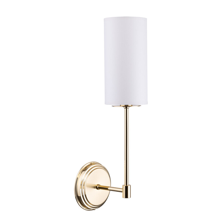 Lighting room BELEZA wall light brass in gold with white shade