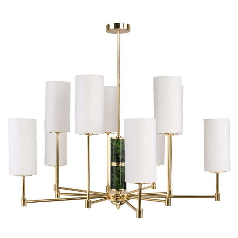 Lighting room BELEZA 10 light designer chandelier in gold with glass and white shades