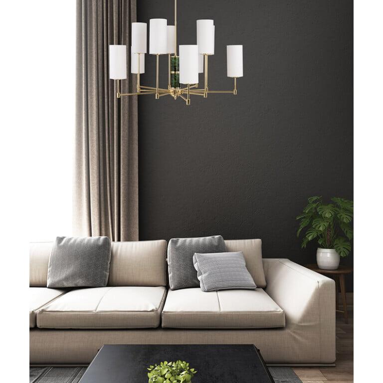 beleza inspiration Designer Luxury Chandelier 10 Armed Brass Lighting Fabric Lamp Shades