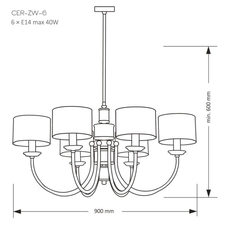 drawing CERO Luxury Chandelier 6 Arms Brass Lights Fabric Lamp Shades Unique Design