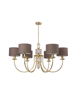 Lighting room CERO 6 light gold chandelier with brown shades