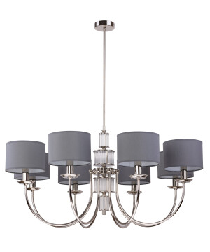 Lighting room CERO 8 light chandelier in nickel with grey shades