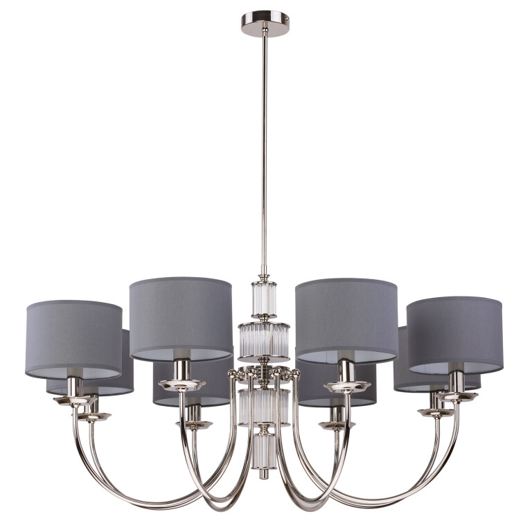 Lighting room CERO 8 light chandelier in nickel with grey shades