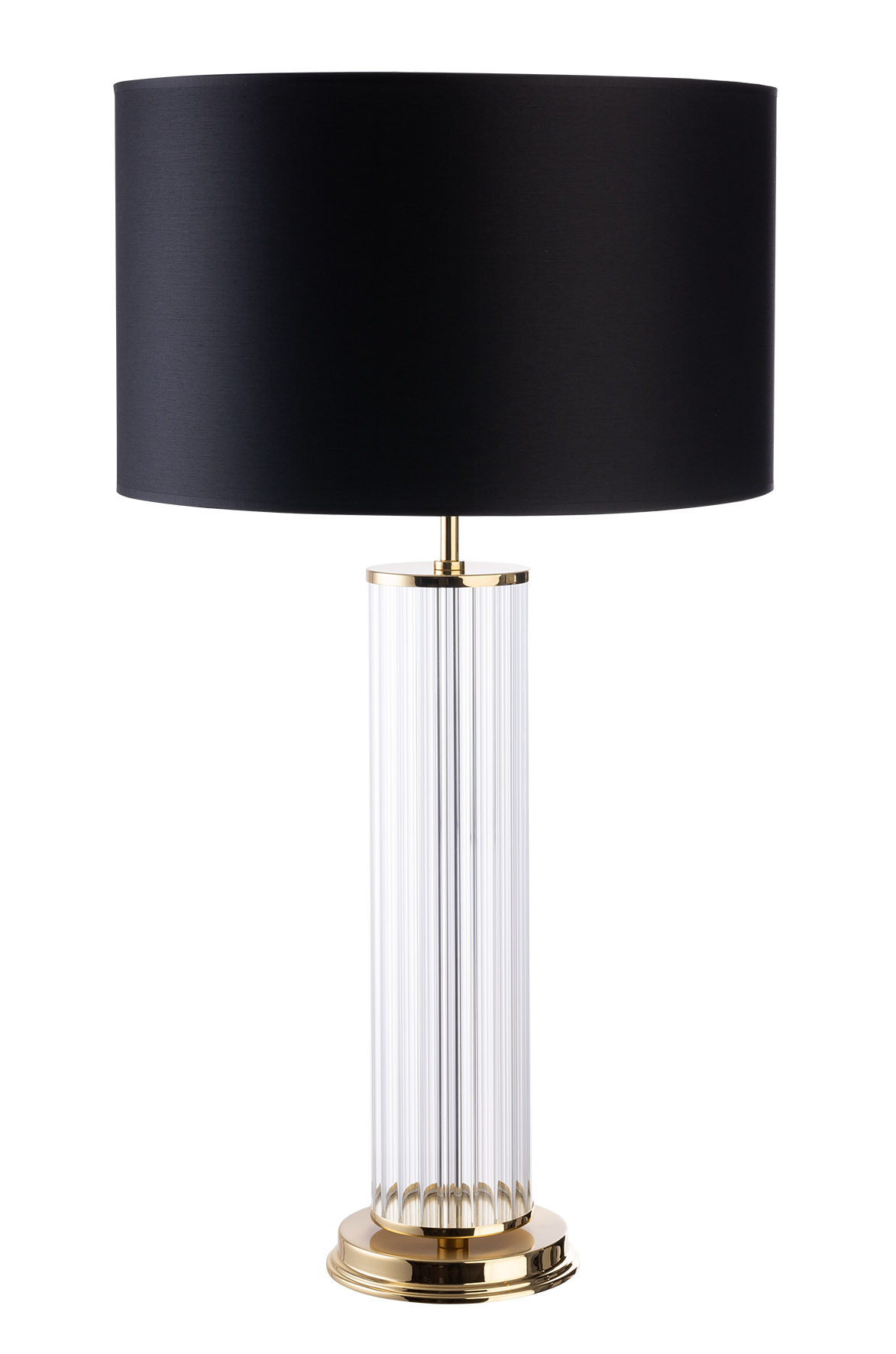 Picture of: Designer Luxury Table Lamp Empoli Brass Lighting With Black Shade And Glass Elements With Gold Luxury Chandelier