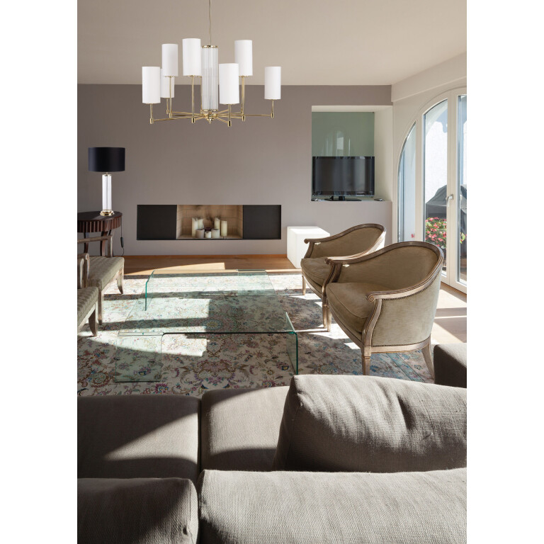 inspiration Sussex EMPOLI Luxury Chandelier 10 Arms Brass Lamps Fabric Lamp Shades Nickel Patina Gold
