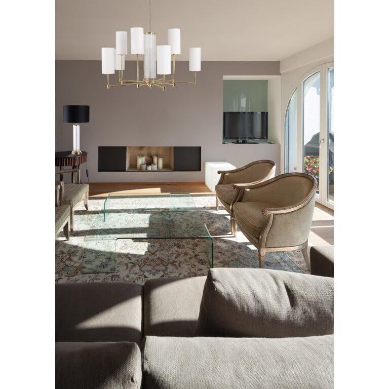 inspiration EMPOLI Designer Luxury Table Lamp Brass Lighting Black White Fabric Lamp Shade Glass Elements Nickel Patina Gold