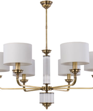 VERDE Luxury Chandelier 6 Arms Fabric Lamp Shades Brass Chandeliers UK
