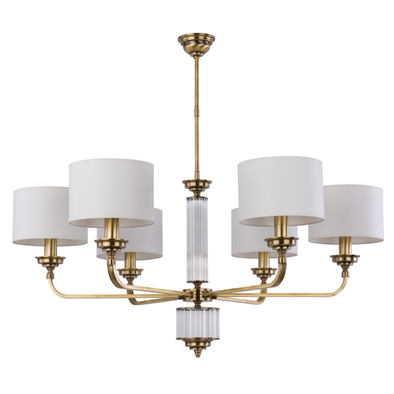Luxury chandelier 6 Arms VERDE in brushed brass with off white shades