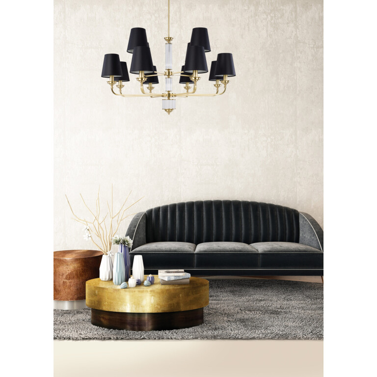 inspiration VERDE Gold Luxury Chandelier 12 Arms Fabric Lamp Shades Double Tier Royal Chandeliers UK