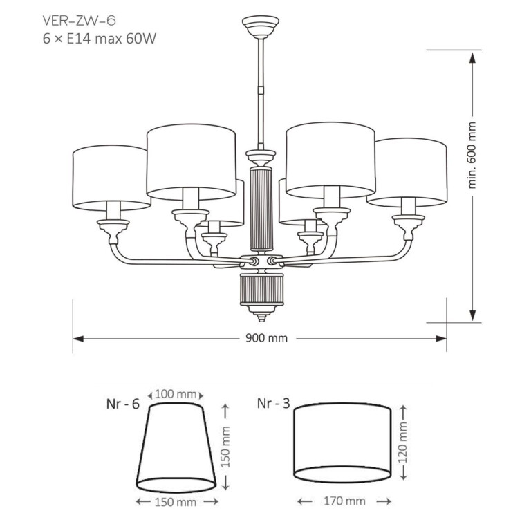 drawing VERDE Luxury Chandelier 6 Arms Fabric Lamp Shades Brass Chandeliers UK