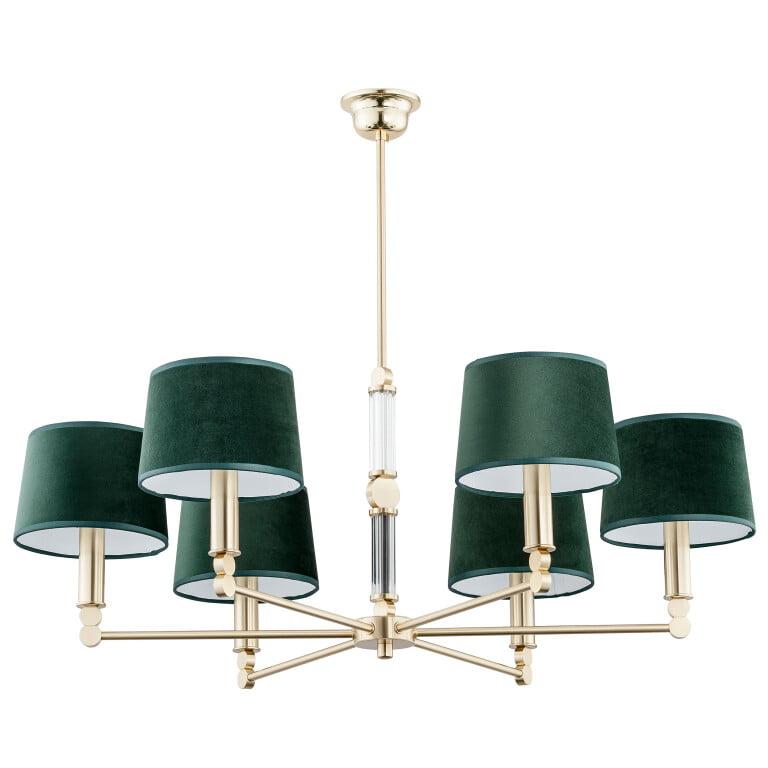 handmade chandelier lighting TAMARA 6 light gold with green shades