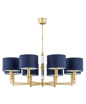 luxury chandelier UK TAMARA 8 light matte gold chandelier, blue shades
