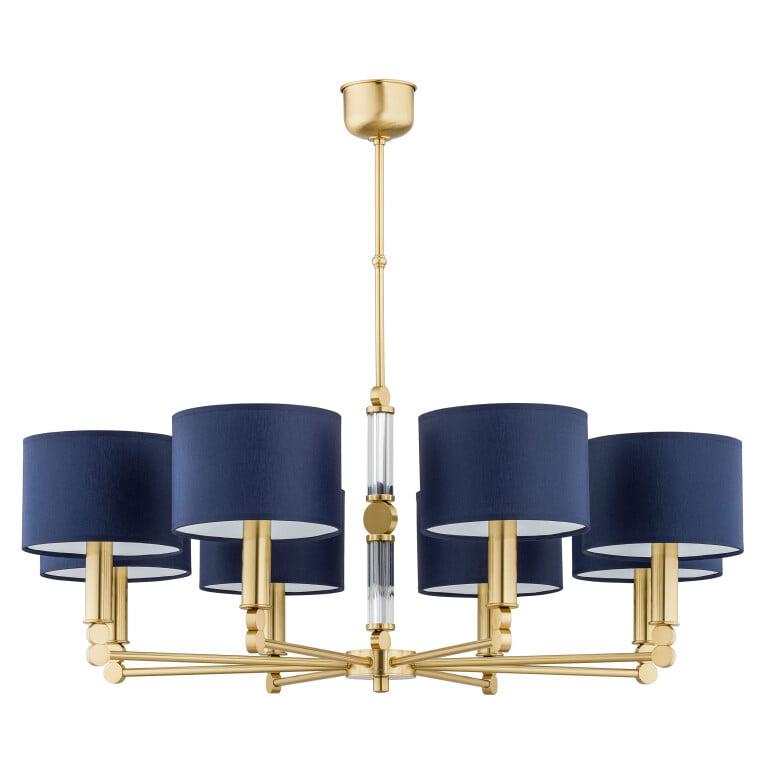luxury chandelier UK TAMARA 8 light matte gold chandelier, blue shades