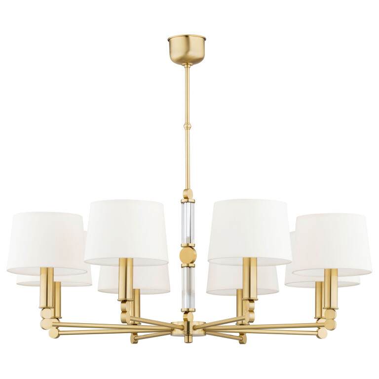 8 light chandeliers TAMARA gold finishes white shades