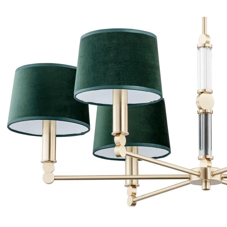 Luxury lighting UK brass chandelier with gold and green lamp shades Tamara