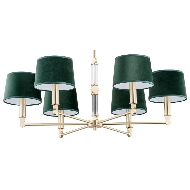 Green brass chandelier light with gold finish Tamara luxury lighting