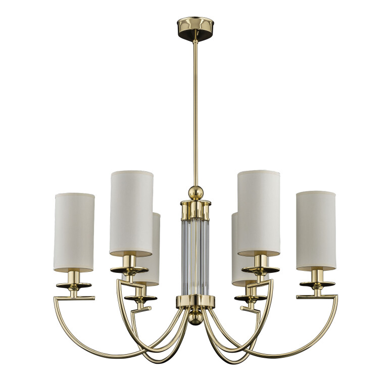 gold chandelier LEA 6 light with tube glass and silk ivory lamp shades