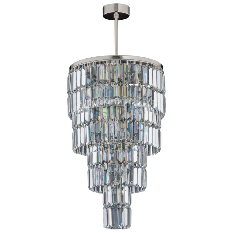 Crystal droplet chandelier ELLINI in nickel with Swarovski Crystals